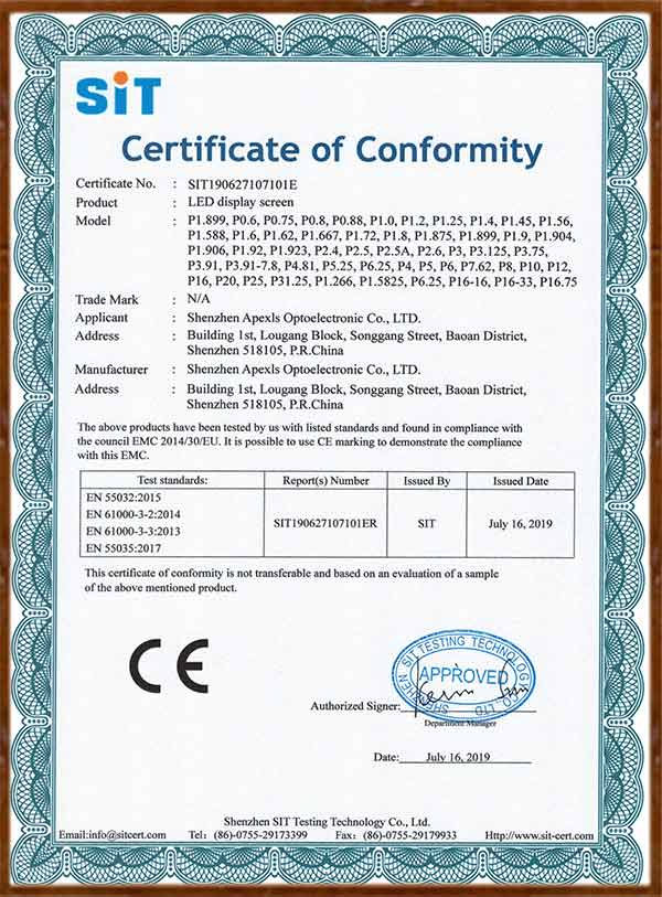 CE-LED display screen Certificate of Conformity