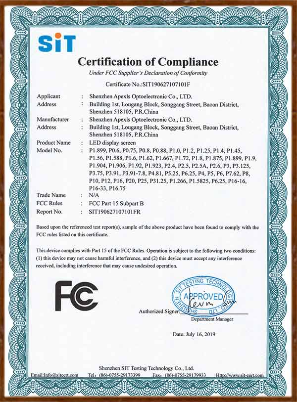 FCC-LED display screen Certificate of Conformity