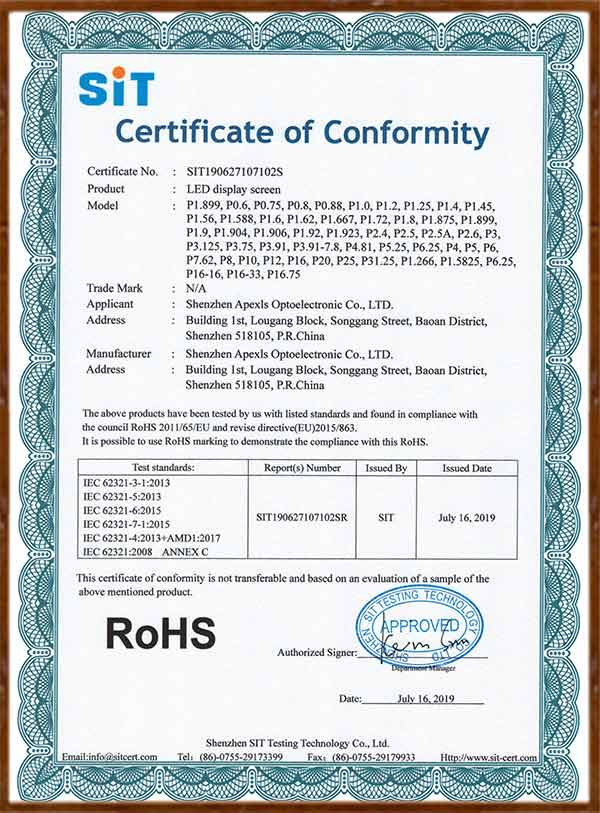ROHS-LED display screen Certificate of Conformity