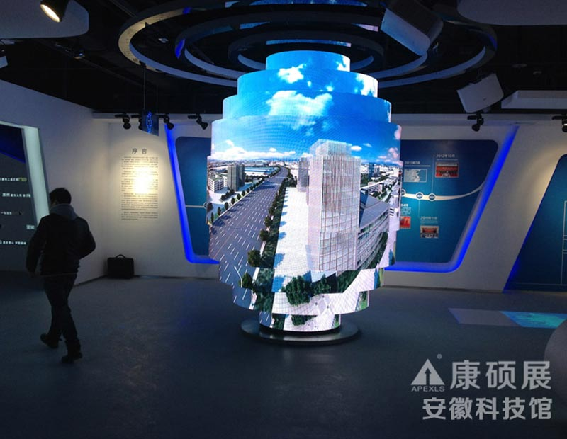 Cylinder LED Display in Anhui Technology Museum